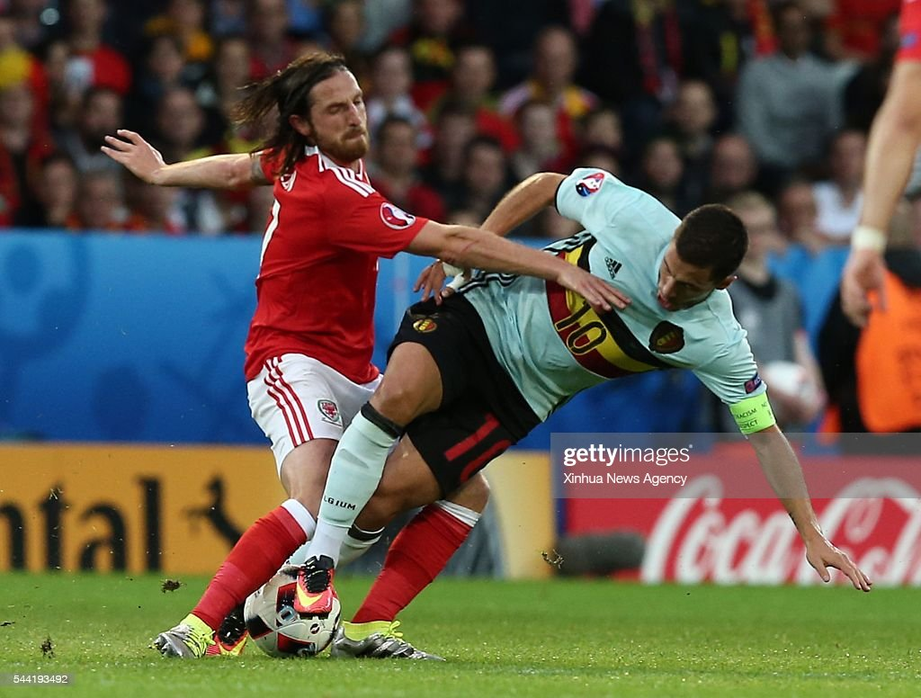 LILLE, July 2, 2016-- Eden Hazard of Belgium, right, competes during the Euro 2016 quarterfinal match between Belgium and Wales in Lille, France, July 1, 2016.