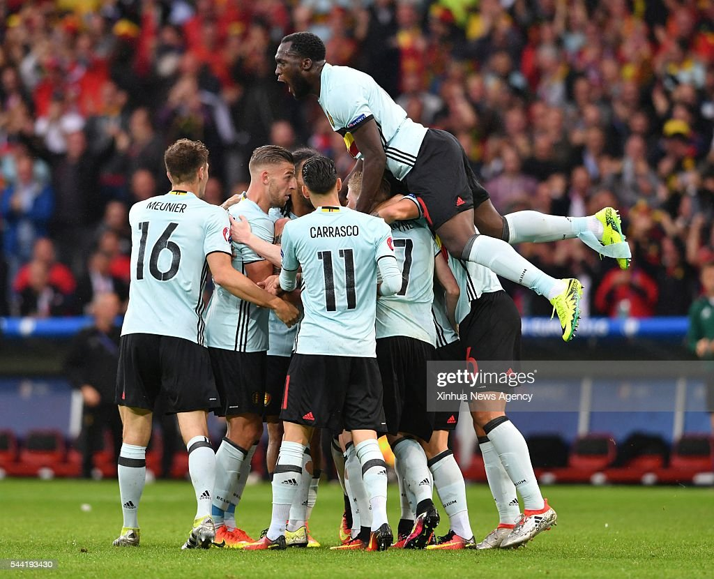 LILLE, July 2, 2016 -- Players of Belgium celebrate after scoring during the Euro 2016 quarterfinal match between Belgium and Wales in Lille, France, July 1, 2016.