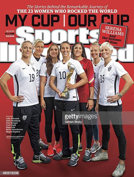 Soccer FIFA World Cup Champions Portrait of US Women's National Team Julie Johnston Abby Wambach Alex Morgan Carli Lloyd Hope Solo Becky Sauerbrunn...