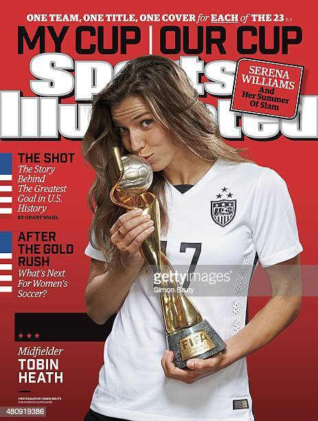 Soccer FIFA World Cup Champions Portrait of US Women's National Team midfielder Tobin Heath holding trophy during photo shoot at ABC News' Good...
