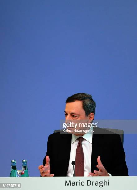 FRANKFURT July 20 2017 European Central Bank President Mario Draghi attends a press conference at the ECB headquarters in Frankfurt Germany on July...
