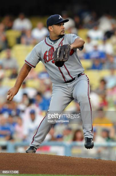 Braves Jorge Campillo during a Major League Baseball game between the Los Angeles Dodgers and the Atlanta Braves played at Dodger Stadium in Los...