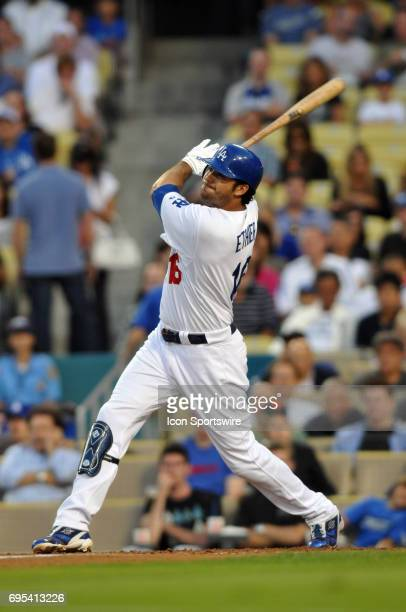 Dodgers Andre Ethier during a Major League Baseball game between the Los Angeles Dodgers and the San Francisco Giants played at Dodger Stadium in Los...