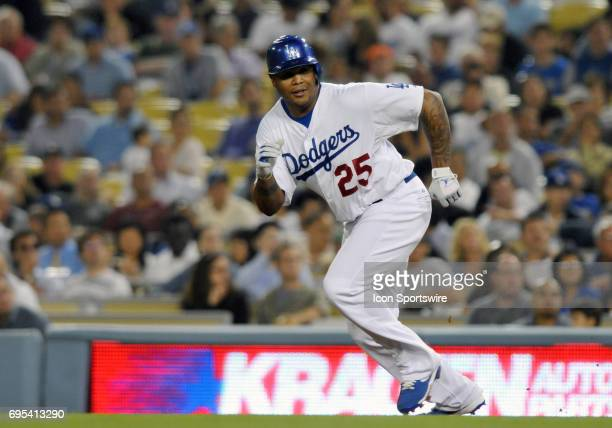 Dodgers Andruw Jones runs towards second base during a Major League Baseball game between the Los Angeles Dodgers and the San Francisco Giants played...