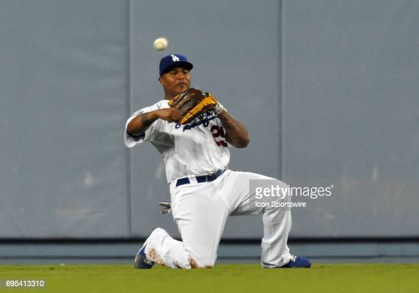 Dodgers Andruw Jones throws to second during a Major League Baseball game between the Los Angeles Dodgers and the San Francisco Giants played at...