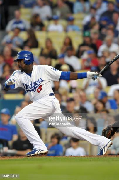 Dodgers Angel Berroa during a Major League Baseball game between the Los Angeles Dodgers and the San Francisco Giants played at Dodger Stadium in Los...