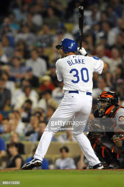 Dodgers Casey Blake during a Major League Baseball game between the Los Angeles Dodgers and the San Francisco Giants played at Dodger Stadium in Los...