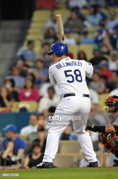 Dodgers Chad Billingsley bats during a Major League Baseball game between the Los Angeles Dodgers and the San Francisco Giants played at Dodger...