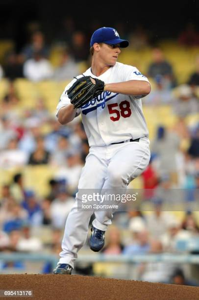 Dodgers Chad Billingsley during a Major League Baseball game between the Los Angeles Dodgers and the San Francisco Giants played at Dodger Stadium in...
