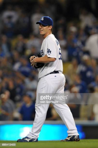Dodgers Chad Billingsley smiles after pitching his first career complete game shutout during a Major League Baseball game between the Los Angeles...