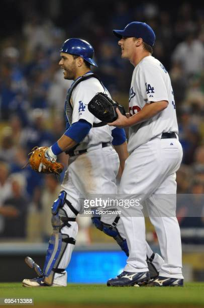 Dodgers Chad Billingsley smiles with Dodgers Chad Billingsley during a Major League Baseball game between the Los Angeles Dodgers and the San...