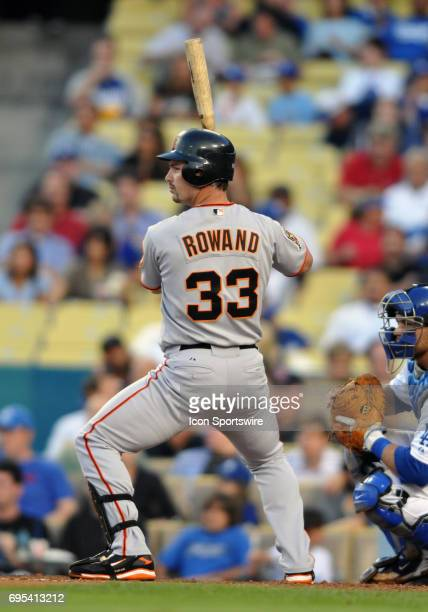 San Francisco Giants Aaron Rowand during a Major League Baseball game between the Los Angeles Dodgers and the San Francisco Giants played at Dodger...