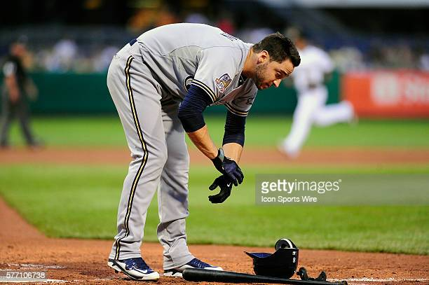 Milwaukee Brewers left fielder Ryan Braun removes his batting gear after striking out during the Milwaukee Brewers 31 victory against the Pittsburgh...