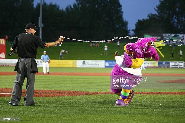 Reggy the Purple Party Dude hams it up with the home plate umpire who ends up covering the Dude with silly string during the Frontier League All Star...