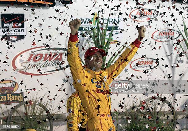 12 July 2014 Verizon IndyCar Series driver Ryan HunterReay celebrates in the Pizza Ranch Victory Lane after winning the Iowa Corn Indy 300 at Iowa...