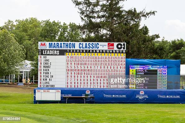 A general view of the leader board at the conclusion of regulation play during the final round of the LPGA Marathon Classic presented by Owens...