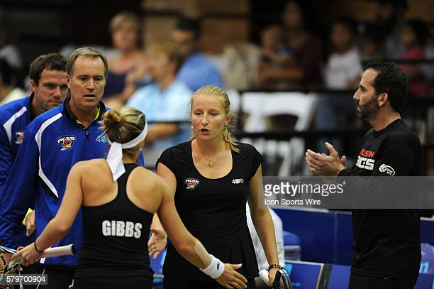 Austin Aces Alla Kudryavtseva gets congratulations from Nicole Gibbs as coach Nick Leach approaches during 25 8 win over the San Diego Aviators at...