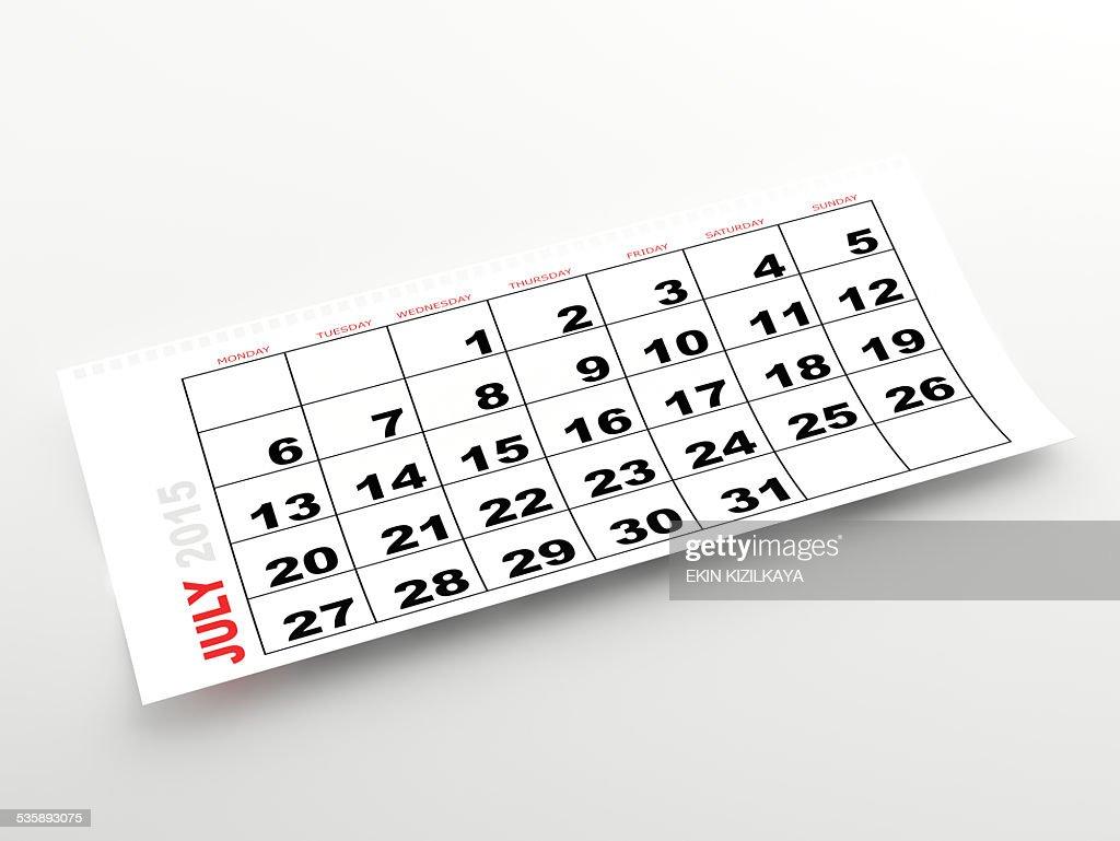 2015 年 7 月のカレンダー : ストックフォト