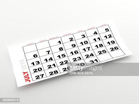 Luglio 2015 calendario : Foto stock