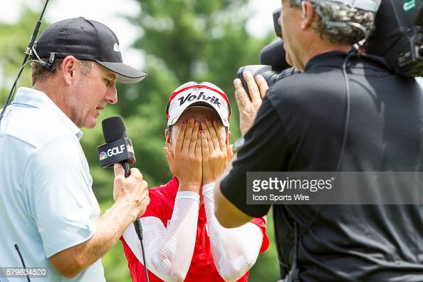 Chella Choi of South Korea is overcome with emotion after winning her first tournament in a playoff against Ha Na Jang of South Korea during the...