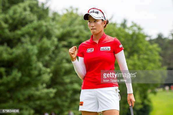 Chella Choi of South Korea reacts to sinking her par put on the 18th green during regulation play during the final round of the LPGA Marathon Classic...