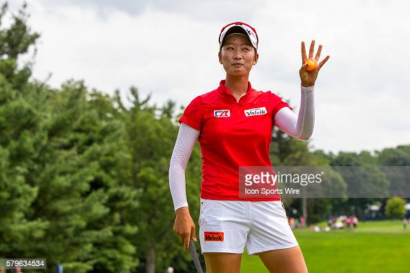 Chella Choi of South Korea reacts to sinking her tapin par put during a playoff hole to win her first tournament during the final round of the LPGA...