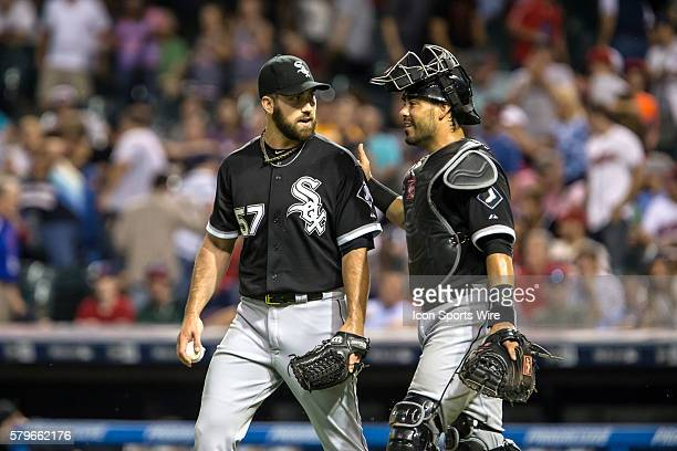 Chicago White Sox Pitcher Zach Putnam [8273] and Chicago White Sox Catcher Geovany Soto [5211] following the game between the Chicago White Sox and...