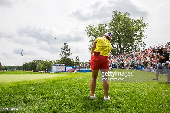 Ha Na Jang of South Korea chips onto the 18th green during a playoff hole during the final round of the LPGA Marathon Classic presented by Owens...