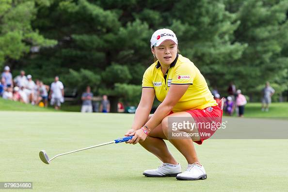 Ha Na Jang of South Korea reacts to missing her birdie put to win the tournament on the 18th green during regulation play during the final round of...