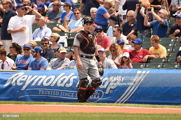 Miami Marlins rookie catcher JT Realmuto prior to a MLB game between the Miami Marlins and the Chicago Cubs at Wrigley Field Chicago Illinois The...
