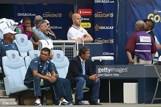 US captain Michael Bradley watches the game from midfield behind Honduras head coach Jorge Luis Pinto and assistant coach Amado Guevara The Haiti...