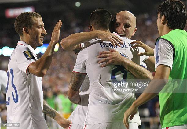 USA forward Clint Dempsey USA defender Fabian Johnson and USA midfielder Michael Bradley celebrate Dempsey's 2nd goal during the Gold Cup Group Stage...