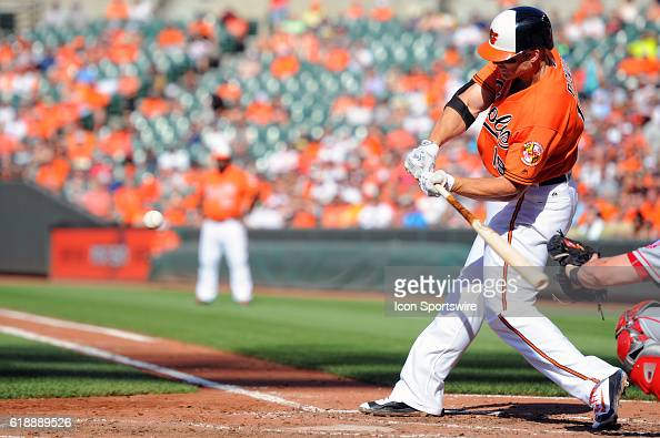 Baltimore Orioles first baseman Chris Davis in action against the Los Angeles Angels at Orioles Park at Camden Yards in Baltimore MD where the...
