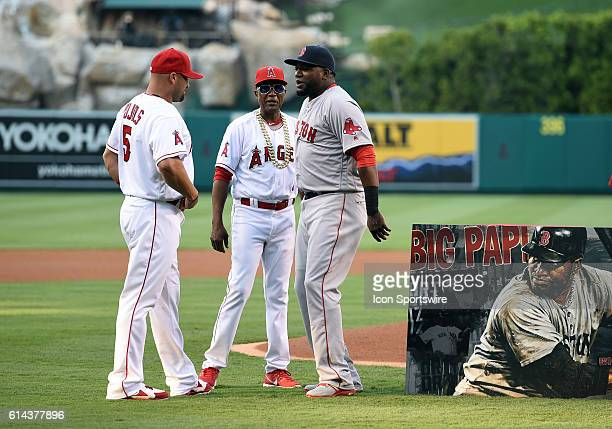 Boston Red Sox Designated hitter David Ortiz [1937] and Los Angeles Angels of Anaheim Designated hitter Albert Pujols [2669] talk after presenting a...