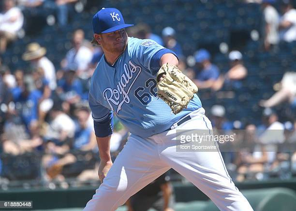 Kansas City Royals relief pitcher Brooks Pounders during a MLB game between the Seattle Mariners and the Kansas City Royals at Kauffman Stadium in...