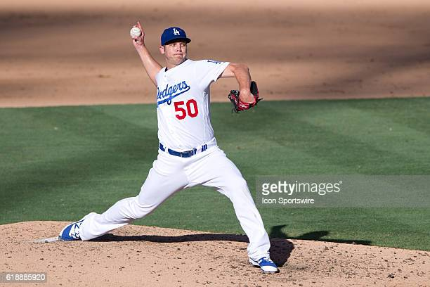 Los Angeles Dodgers Pitcher Casey Fien [9006] pitches during the game between the San Diego Padres and the Los Angeles Dodgers at Dodger Stadium in...
