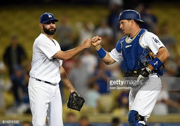 Los Angeles Dodgers Pitcher Chris Hatcher [6729] celebrates the victory with Los Angeles Dodgers Catcher AJ Ellis [3979] during a Major League...