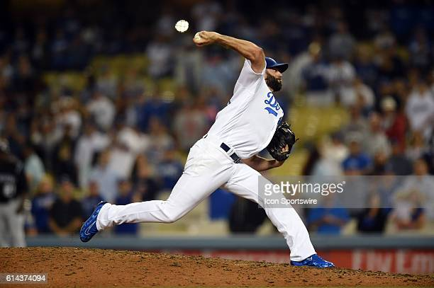 Los Angeles Dodgers Pitcher Chris Hatcher [6729] throws the final strikeout of the game during a Major League Baseball between the Colorado Rockies...