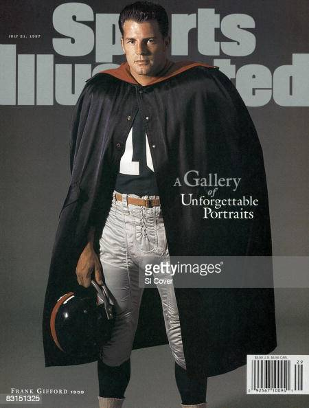 Football Portrait of New York Giants Frank Gifford wearing cape Burlington VT 8/11/1959 CREDIT John G Zimmerman