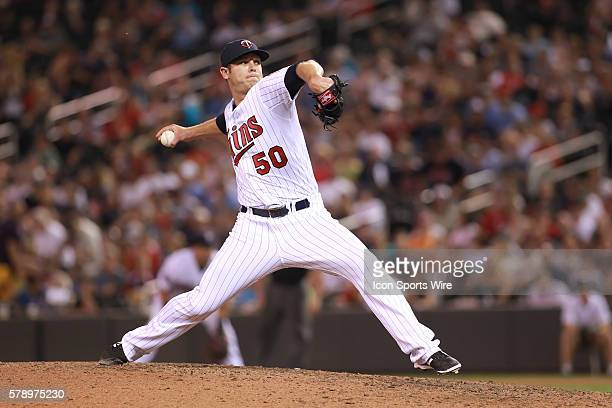 July 21 2014 Minnesota pitcher Casey Fien pitching in the eighth inning at the Minnesota Twins game versus Cleveland Indians at Target Field in...