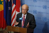 NATIONS July 21 2016 Koro Bossho Japanese ambassador to the United Nations and this month's president of the Security Council speaks to the press at...