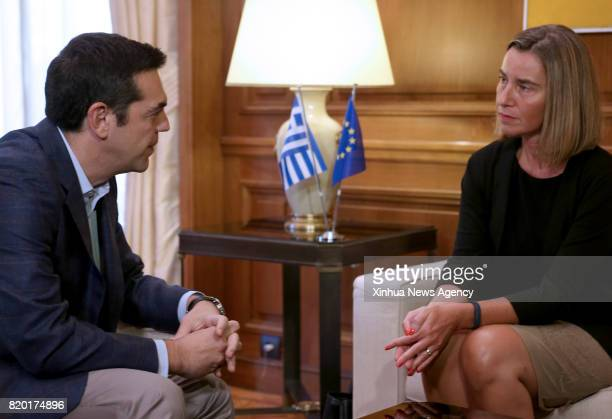 ATHENS July 21 2017 Greek Prime Minister Alexis Tsipras meets with European Union's High Representative for Foreign Affairs and Security Policy...