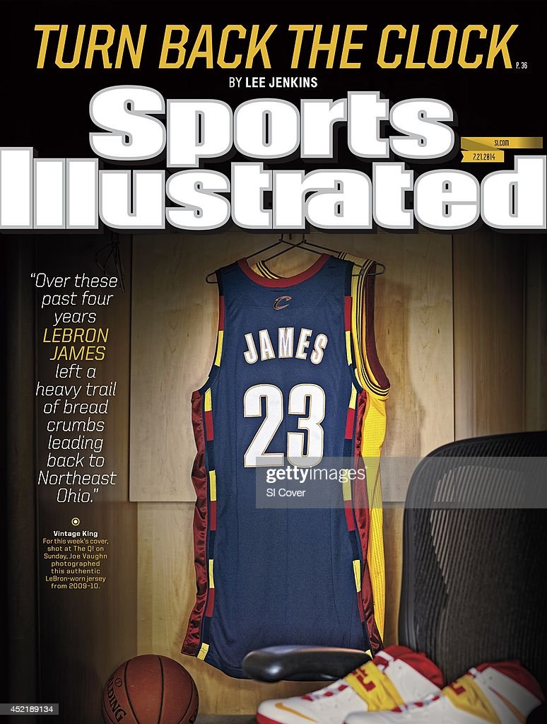 Studio shot of 2009-10 game-worn Cleveland Cavaliers #23 jersey of LeBron James in locker room at Quicken Loans Arena. Joe Vaughn TK1 )