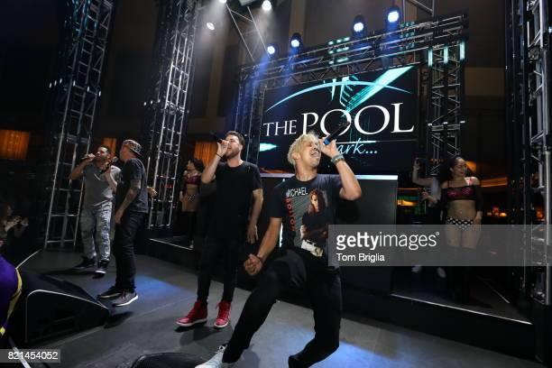 ErikMichael Estrada Trevor Penick Jacob Underwood and Dan Miller of OTown performs at The Pool After Dark at Harrah's Resort on Saturday July 22 2017...