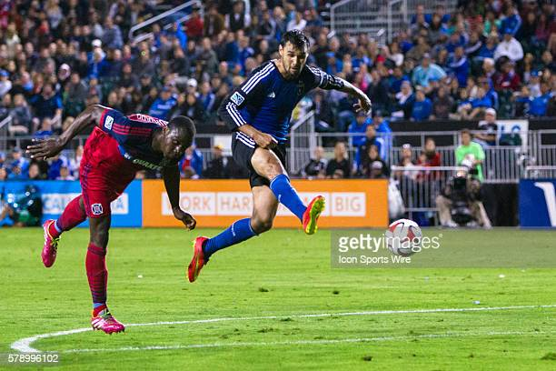 Chicago Fire defender Jhon Kennedy Hurtado beds the ball to the goal keeper before q8] is able to get a toe on it during the game between the San...