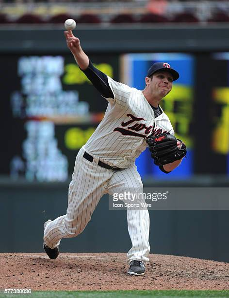 Minnesota Twins Pitcher Casey Fien [9006] delivers a pitch in the eighth inning against the Cleveland Indians at Target Field in Minneapolis MN The...