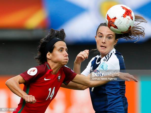 ROTTERDAM July 23 2017 Dolores Silva of Portugal vies with Caroline Weir of Scotland during the UEFA Women's EURO 2017 soccer tournament Group D...