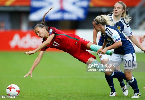 ROTTERDAM July 23 2017 Vanessa Marques of Portugal is tackled by Kirsty Smith of Scotland during the UEFA Women's EURO 2017 soccer tournament Group D...