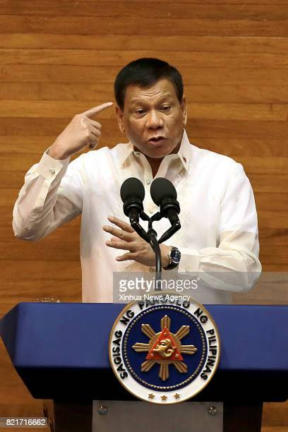 CITY July 24 2017 Philippine President Rodrigo Duterte delivers his State of the Nation Address at the Philippine House of Representatives in Quezon...