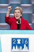 PHILADELPHIA July 25 2016 US Senator Elizabeth Warren addresses the 2016 US Democratic National Convention at Wells Fargo Center Philadelphia...